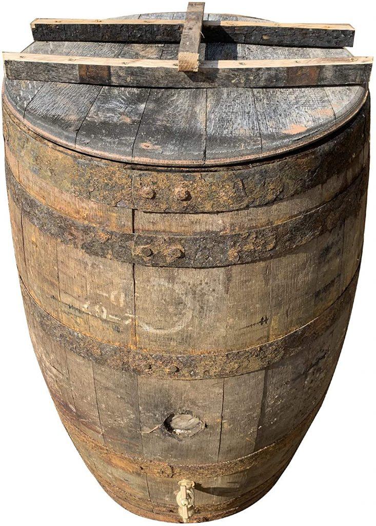 oak wooden water rain barrel