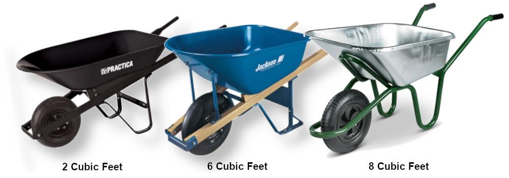 wheelbarrow sizes
